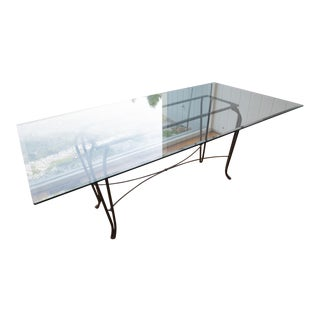 Glass & Wrought Iron Rectangular Dining Table For Sale