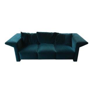 Green Velvet Italian Mid-Century Modern Sofa