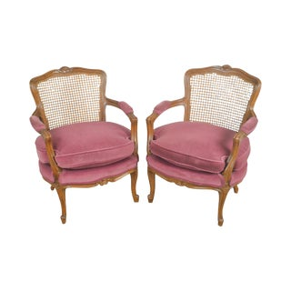 French Louis XV Style Custom Quality Pair of Cane Back Fauteuils Arm Chairs For Sale
