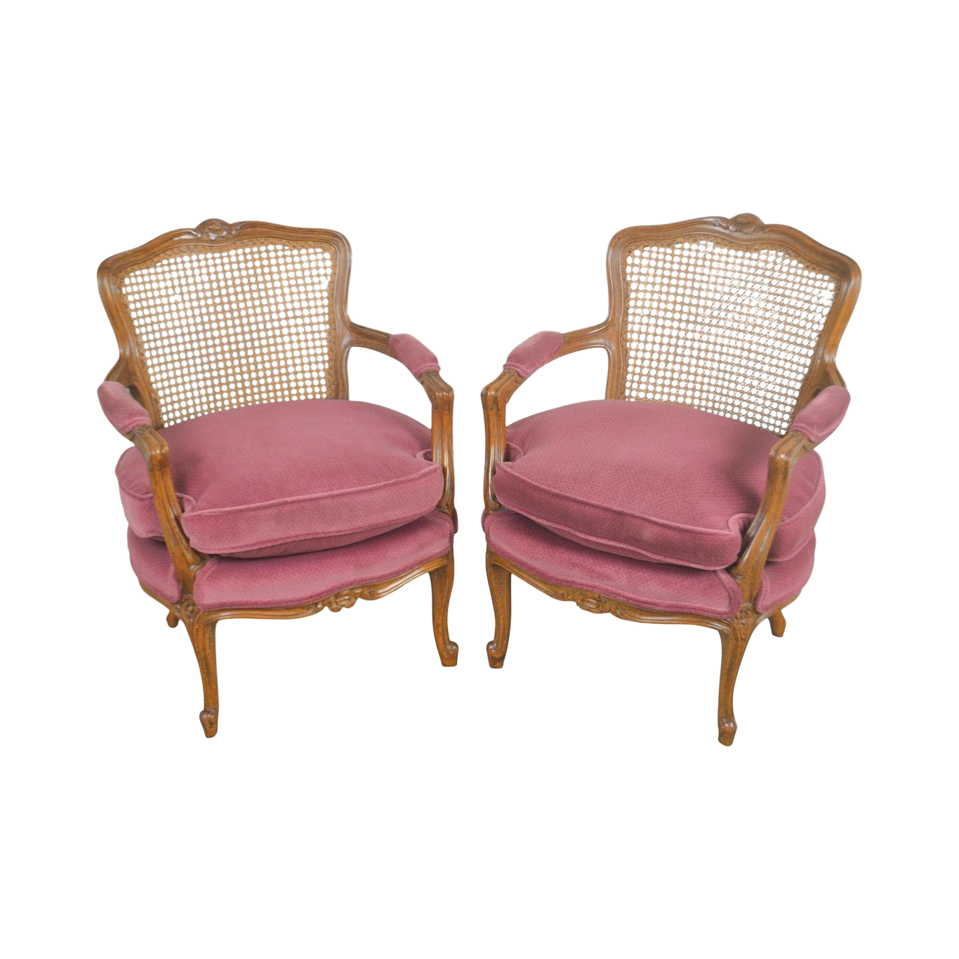 French Louis XV Style Custom Quality Pair Of Cane Back Fauteuils Arm Chairs