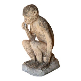 1950s Vintage Terracotta Monkey Figurine For Sale