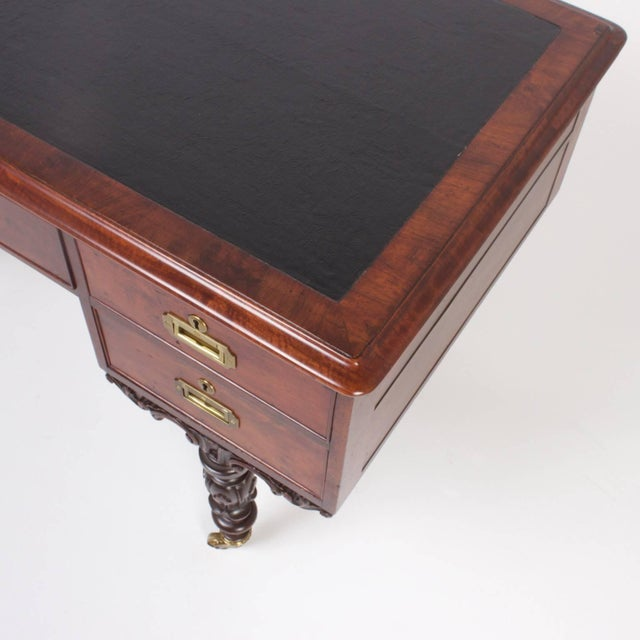 Mid 19th Century Rare Antique Irish Mahogany Desk For Sale - Image 5 of 10