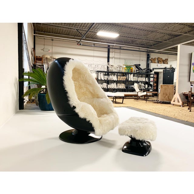 Black 1970s Lee West Alpha Egg Chair and Ottoman Restored in New Zealand Sheepskin For Sale - Image 8 of 10