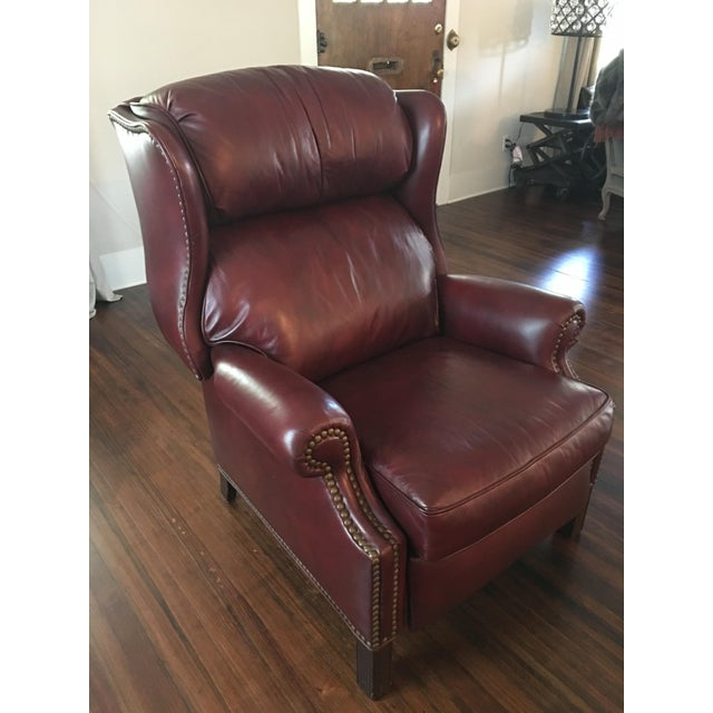 Hancock & Moore Addison Bustle Back Ball & Claw Recliner in Red Leather - Image 2 of 11