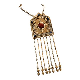 Vintage Egyptian Revival Gold Medallion Pendant For Sale