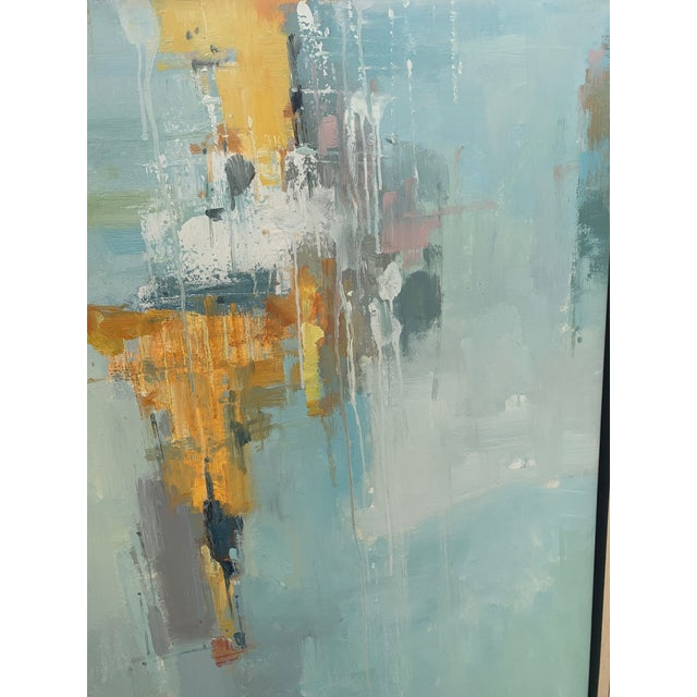 2010s Original Abstract Oil on Canvas in Floating Silver Gilt Frame For Sale - Image 5 of 12