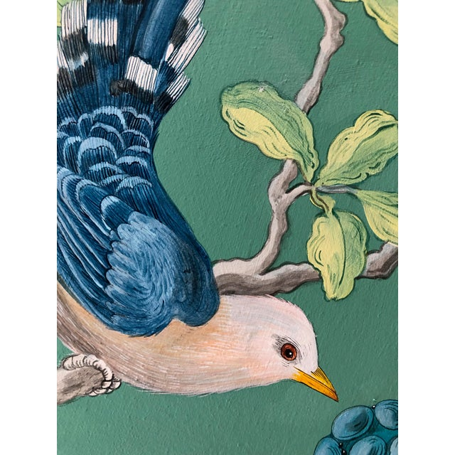 Canvas The Arrival Contemporary Bird Botanic Painting For Sale - Image 7 of 12