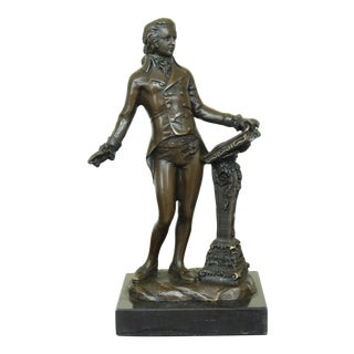Signature Statuary Bronze Mozart Statue on Marble Base For Sale