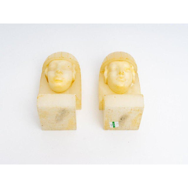Yellow Egyptian Revival Art Deco Alabaster Bookends - a Pair For Sale - Image 8 of 11