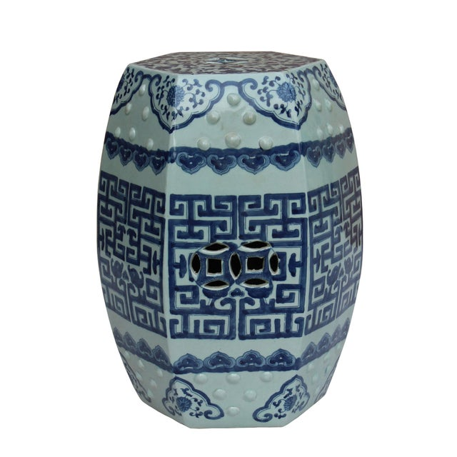 Art Deco Chinese Blue & White Porcelain Scenery Hexagon Pattern Stool Table For Sale - Image 3 of 7