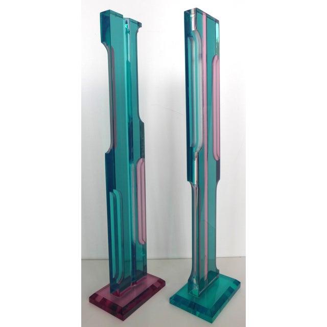 Mid Century Lucite Sculptures - Pair - Image 3 of 8