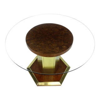 Round Brass Burl Wood Glass Top Center Dining Conference Table Henredon