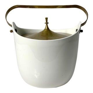 1960s Vintage Ernest Sohn White Ceramic & Brass Ice Bucket For Sale