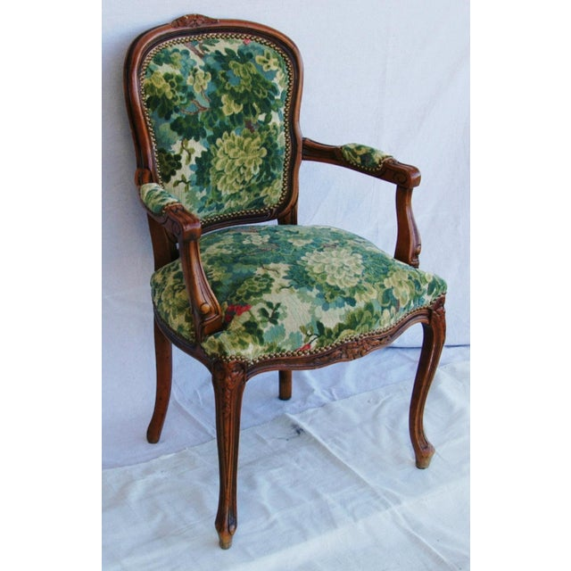 Scalamandre Marly Velvet Tapestry Fabric Walnut Armchair For Sale In Los Angeles - Image 6 of 11