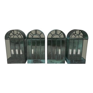 Vintage Mid-Century Verdigris Wall Lanterns - Set of 4 For Sale
