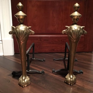 1960s Hollywood Regency Brass Claw Foot Sculptural Andirons - a Pair Preview