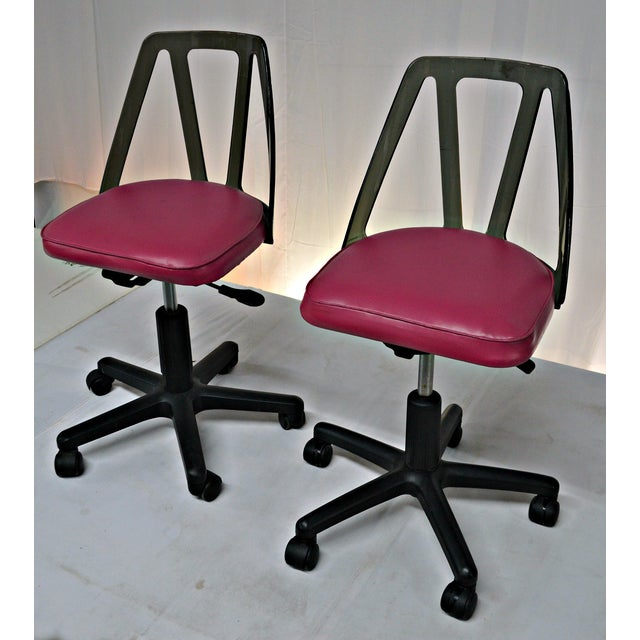 Vintage Smoked Lucite Office Chairs - Pair - Image 5 of 9