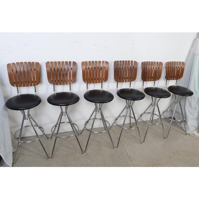 Arthur Umanoff Style Black Leather Slat Back Bar Stools - Set of 6 For Sale - Image 9 of 9