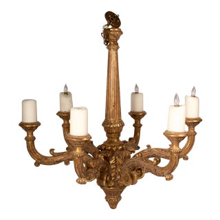 Gilt Wood Carved Six Arm Chandelier, Large For Sale