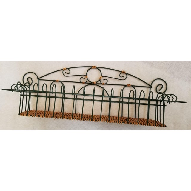 Late 20th Century Wicker and Green Metal Wire Wall Shelves - 3 Pieces For Sale - Image 4 of 9