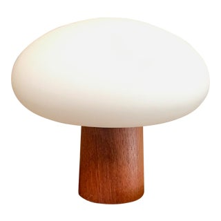 Mid-Century Modern Mushroom Lamp Frosted Glass With Teak Base For Sale