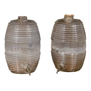 19th Century French Glass Barrels for Cologne - a Pair