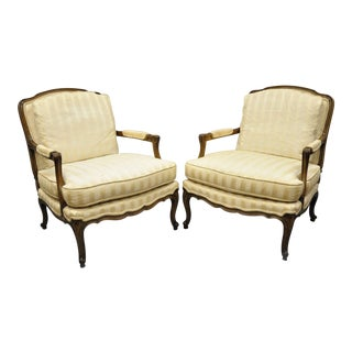 Vintage Mid-Century Baker Louis XV Style Bergere Armchairs - A Pair For Sale