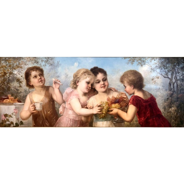 Exceptional Antique Late 19th Century Romantic School Viennese Oil on Canvas Portraiture Painting.