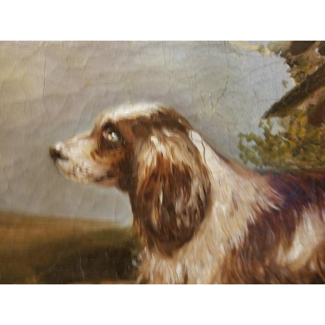 Adorable 19th c English Springer Spaniel dog painting measuring 11.5 inches high x 14 inches wide sold as found in vintage...