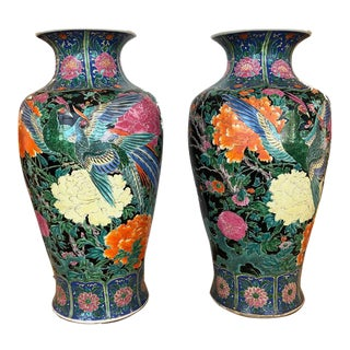 Antique Green Floral Imari Vases - a Pair For Sale