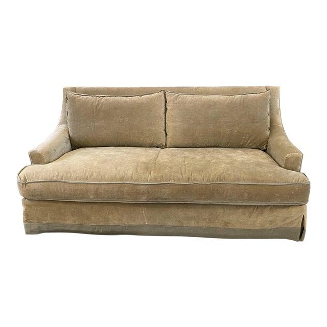 Baker Furniture Custom Velvet + Linen Trimmed Loveseat For Sale