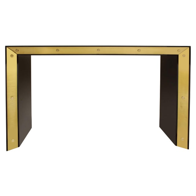 Brown Lacquered Console with Brass Accents For Sale - Image 9 of 9