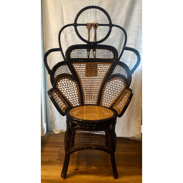 Boho Chic Modern Anthropologie Rattan Wicker and Cane High Gloss Navy Blue Peacock Chair For Sale - Image 3 of 6