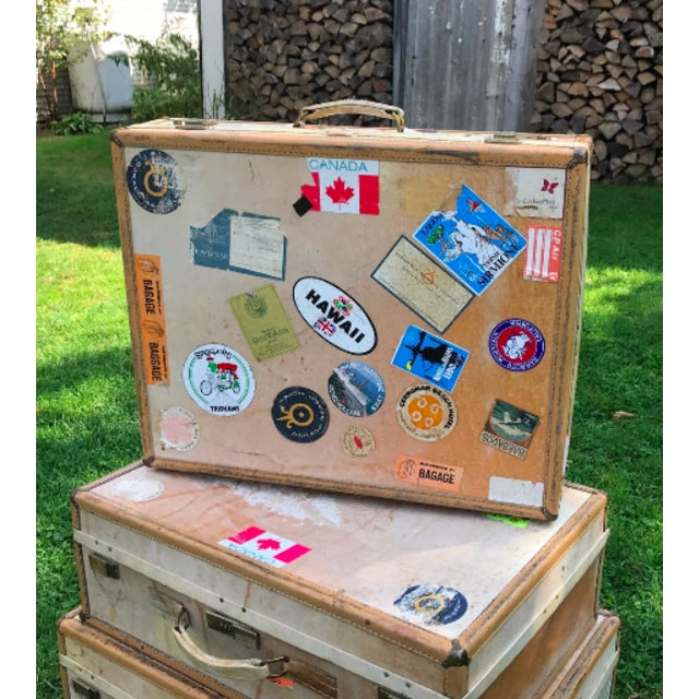 Cottage 3 Travel Suitcases, Vintage Stickers, Trio of Stacking Cases For Sale - Image 3 of 7