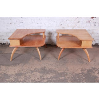Heywood Wakefield Mid-Century Modern Solid Maple Corner End Tables, Pair Preview