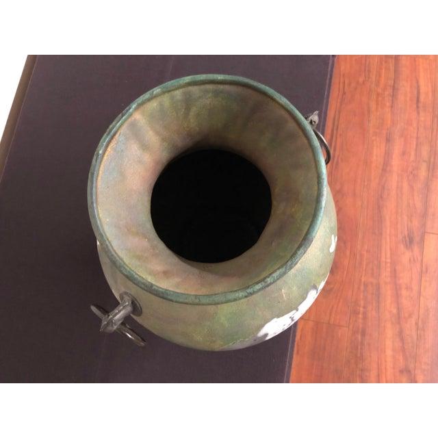 Tony Evans Raku Large Vase With Metal Horse Handles For Sale - Image 11 of 13