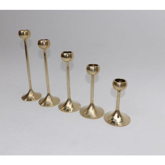 Mid Century Brass Candlesticks - Set of 5 For Sale - Image 4 of 6