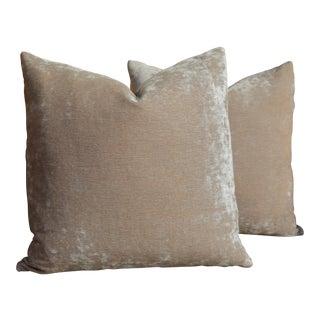 """Pair of Custom 20"""" Pale Blush Velvet Pillows For Sale"""