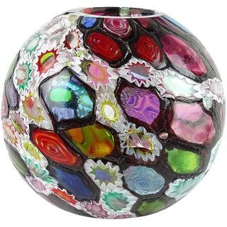 Fratelli Toso Murano Millefiori Flower Star Mosaic Italian Art Glass Flower Vintage Vase For Sale