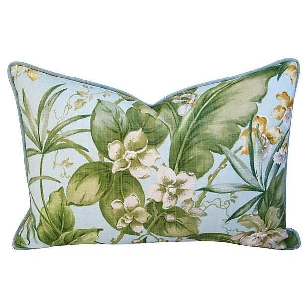 Large Tropical Linen & Velvet Pillows - Pair - Image 4 of 7