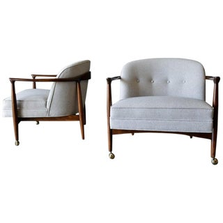 1950s Vintage Finn Andersen for Selig Sculpted Walnut Barrel Back Chairs- A Pair For Sale