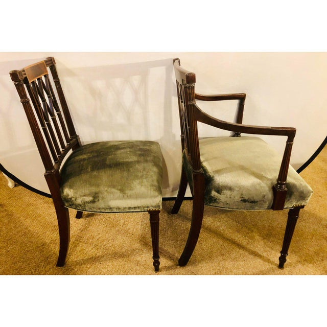 Set of Twelve Sheridan Style Dining Chairs With New Upholstery For Sale - Image 4 of 13
