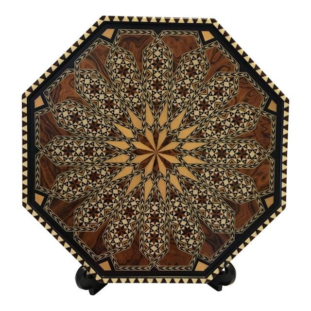 Vintage Laguna Ocatgon Marquetry Inlaid Tray Granada Spain For Sale