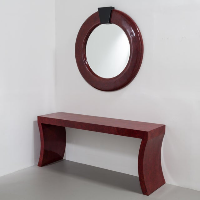 An Impressive Red Crackleware Finished Console Table and Mirror 1980s Mirror: Height 125cm x Depth 8cm Price includes 20%...