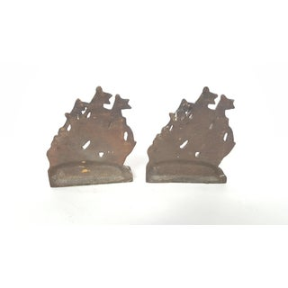 1940 Vintage Bronze Sailing Ship Bookends - a Pair Preview
