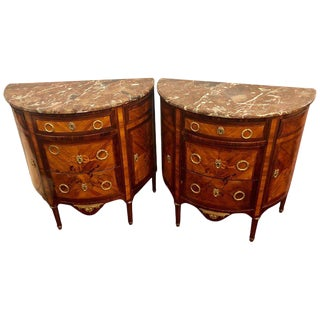 Pair of 19th Century Inlaid French Demilune Commodes or Nightstands For Sale