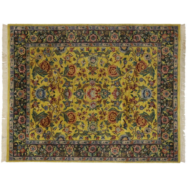 "Vintage Traditional Style Yellow Area Rug - 7'10"" x 9'9"" - Image 5 of 5"