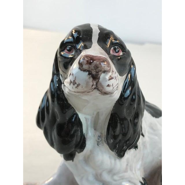 Vintage Italian Majolica Spaniel Dog Figurine For Sale - Image 4 of 10