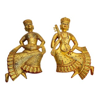 Vintage Indian Carved Wood Rajasthani Female Musicians Sculptures - a Pair For Sale