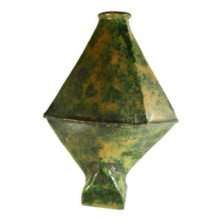 French Ceramic Vase With Marble Glaze For Sale